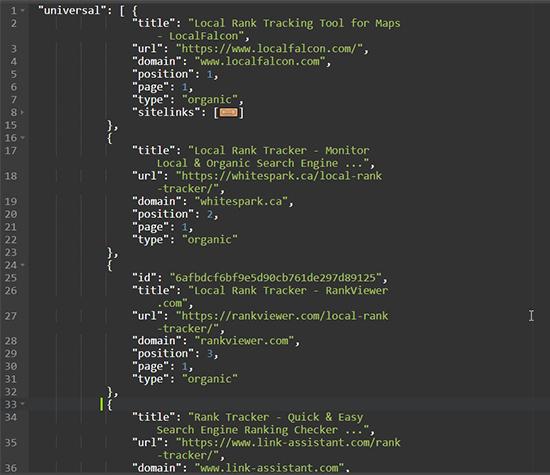 GeoRanker SEO API Sample JSON data