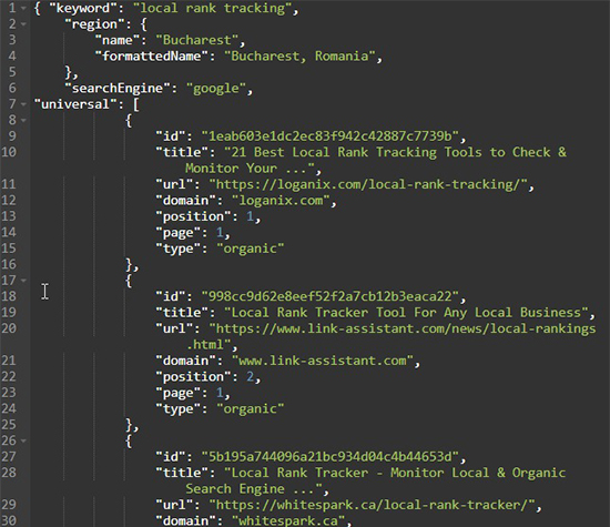 GeoRanker SEO API Sample JSON data