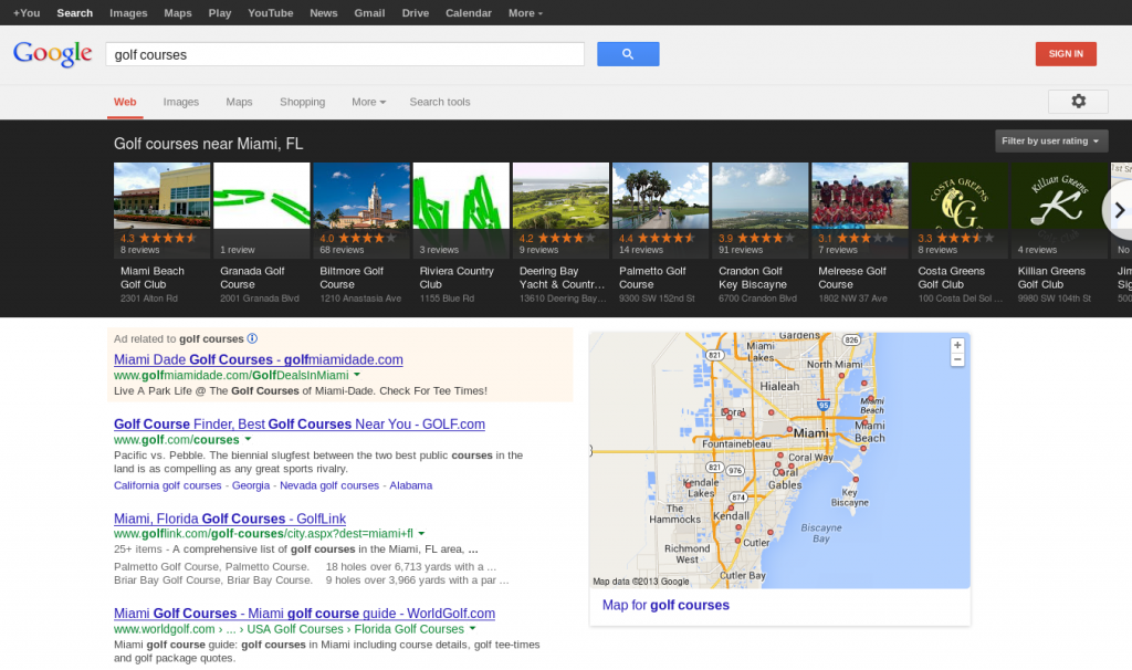 Google Local Carousel - Golf Courses