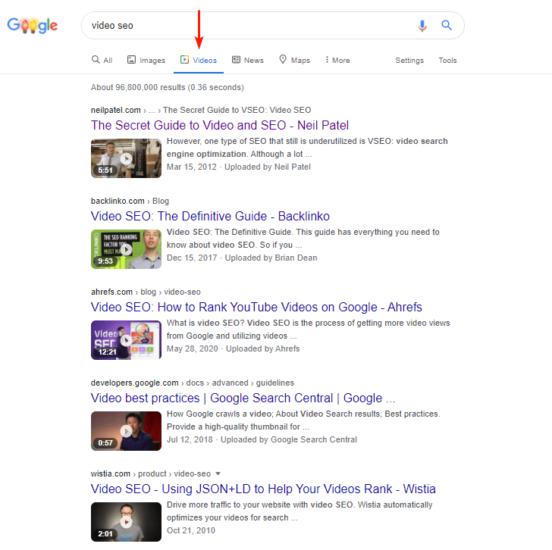 Google Videos Tab